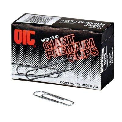 Officemate International Corp Gem Clips, Giant Premium, Non-Skid, .040 Gauge, Silver