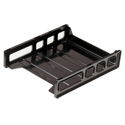"""Officemate International Corp Letter Tray, Front Load, 10-1/2""""x12-1/2""""x2-7/8"""", Smoke/Black"""