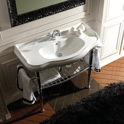 Ws bath collections retro ceramic bathroom sink with metal for Porcelain on steel bathtub review