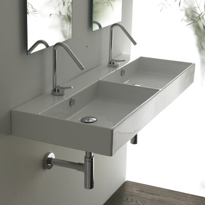 Ceramica II Unlimited Ceramic Rectangle Double Bathroom Sink by WS Bath Collections