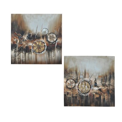 Crestview Collection 2 Piece Troy Original Painting on Canvas Set