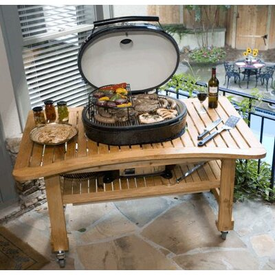 Primo Grills Teak Table for Extra Large Oval Grill