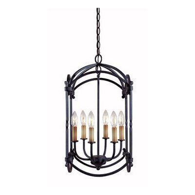 Iron 6 Light Outdoor Hanging Lantern/Pendant Product Photo