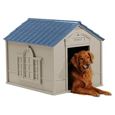 The Suncast Deluxe Dog House lets your dog stretch and sprawl around. The dog house will satisfy your dog's needs for privacy and lets it indulge in long periods of undisturbed snooze.