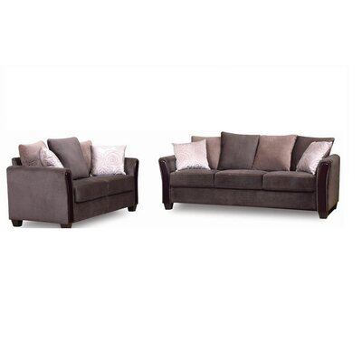 New Spec Inc Madison Fabric Sofa and Loveseat Set