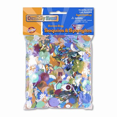 Creativity Street® Sequins & Spangles, Assorted Metallic Colors/Shapes/Sizes, 4-oz. Pack