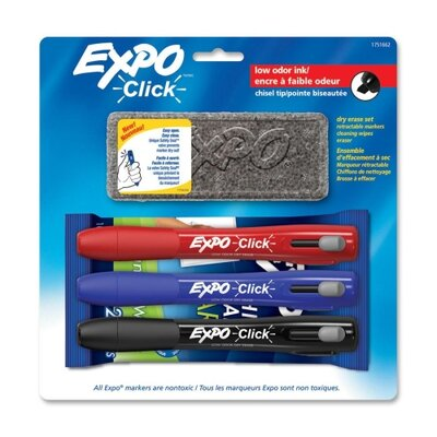 EXPO® Click Dry Erase Marker Starter Set, Eraser/Wipes/Markers, Chisel, Asstd, 3/Set