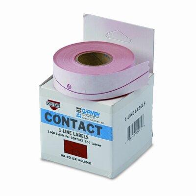 Garvey One-Line Pricemarker Labels, 7/16 x 13/16, Fluor Red, 1200/Roll, 3 Rolls/Box