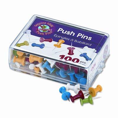 "Gem Office Products, LLC. Plastic Head Push Pins, Steel 3/8"" Point, Assorted Colors, 100 per Box"