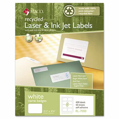 Maco Tag & Label Recycled Name Badge Labels, 400/Box
