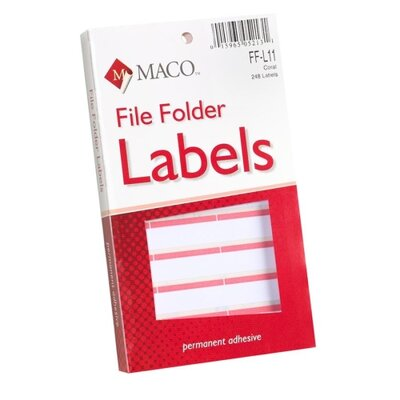 "Maco Tag & Label File Folder Labels, 9/16""x3-7/16"", Coral"