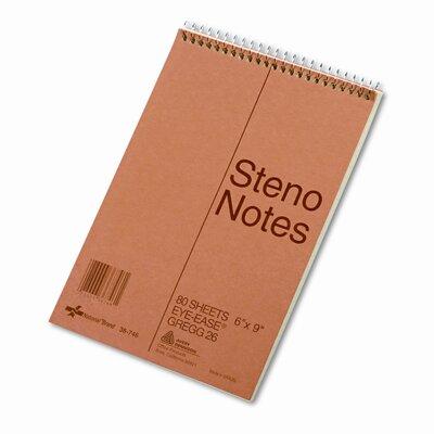 National® Brand Standard Spiral Steno Book, Gregg Rule, 6 x 9, Green