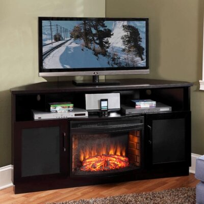 TV Stand with Curved Electric Fireplace by Furnitech