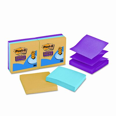 Post-it® Super Sticky Pop-Up Refill, 3 x 3, 3 Ultra Colors, 6 90 Sheet Pads/pack
