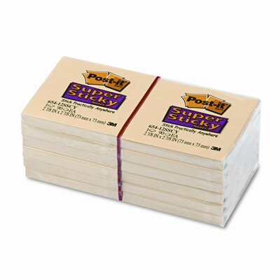 Post-it® Super Sticky Notes, 3 x 3, Canary Yellow, 12 90-Sheet Pads/pack
