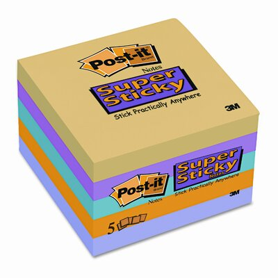 Post-it® Super Sticky Notes, 3 x 3, Five Ultra Colors, Five 90-Sheet Pads/pack