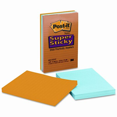 Post-it® Super Sticky Note Pad, 3 90-Sheet Pads/Pack