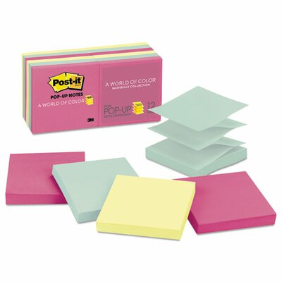 Post-it® Pop-Up Note Refills, 3 x 3, Three Colors, 12 100-Sheet Pads/Pck