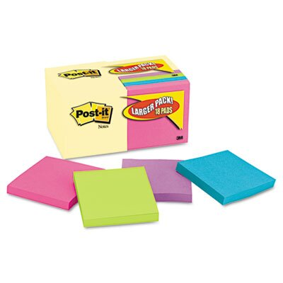 Post-it® Note Bonus Pack Pads, 3 x 3, Canary Yellow/Ast.,100-Sheet 18/Pack