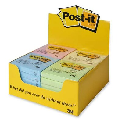 "Post-it® Post-it Notes, 3""x3"", PDper Pack, Assorted Pastel"