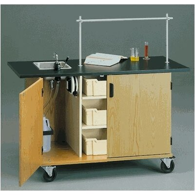 """Fleetwood 60"""" W Mobile Science Lab Station with Black HPL Top and Tray Storage"""
