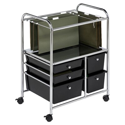 """Honey Can Do 28.75"""" 5 Drawer Hanging File Cart in Chrome/Black"""
