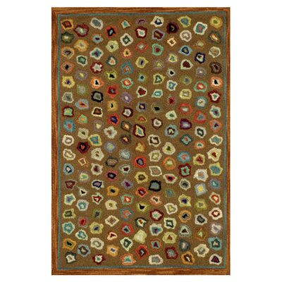 Dash and Albert Rugs Hooked Cats Paw Brown Geometric Area Rug
