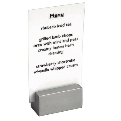 Front Of The House Stainless Steel Brushed Menu Holder or Sign Holder