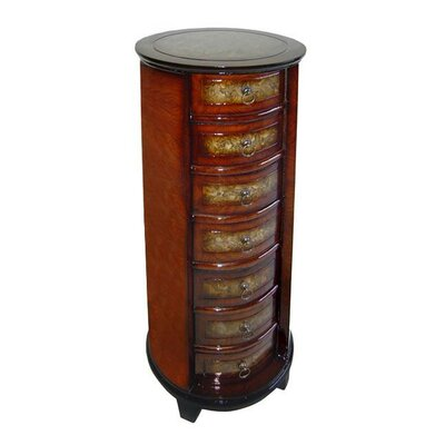 Wooden Tall Round 7 Drawer Chest with Ring Handles by Cheungs