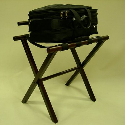 Proman Products Straight Leg Luggage Rack with Backing in Walnut
