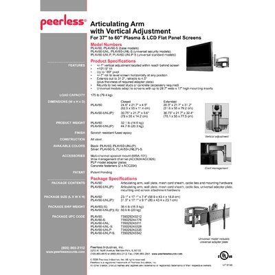"Peerless Flat Panel Articulating Arm/Tilt Wall Mount for 37"" - 60"" Plasma/LCD"