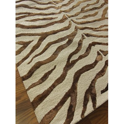 Safari Zebra Print Faux Silk Highlights Brown Area Rug