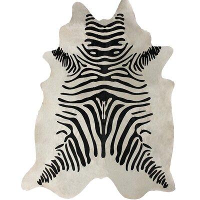 Hides Zebra Print Cowhide Black & White Area Rug by nuLOOM