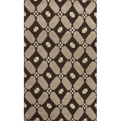 Indo-Nepal Damask Chocolate Contemporary Rug by nuLOOM
