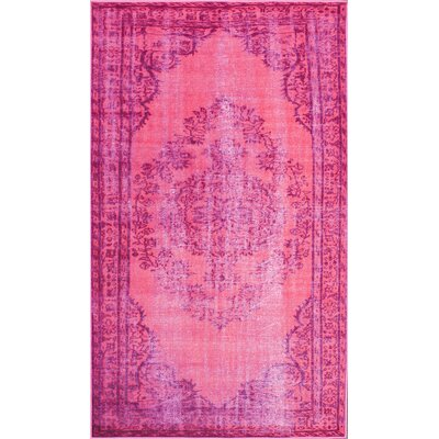 nuLOOM Remade Distressed Overdyed Pink Area Rug nuLOOM