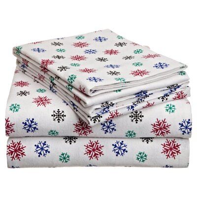 Heavy Weight Snow Flakes Printed Flannel Sheet Set by Pointehaven