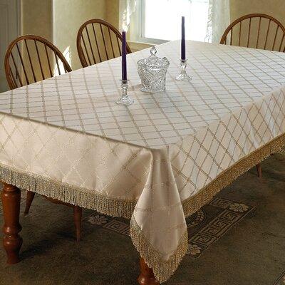 Diamond Damask Fringes Tablecloth by Violet Linen