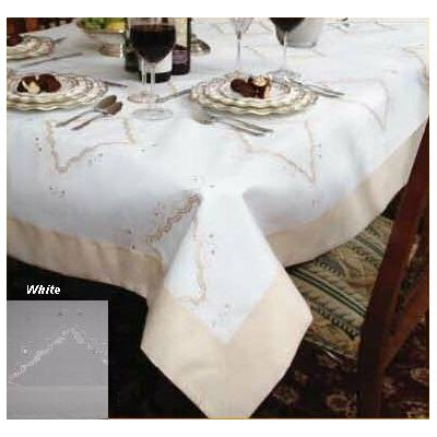 Violet Linen Dainty Embroidered Tablecloth