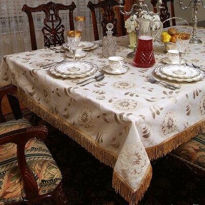 Legacy Floral Damask Fringes Tablecloth by Violet Linen