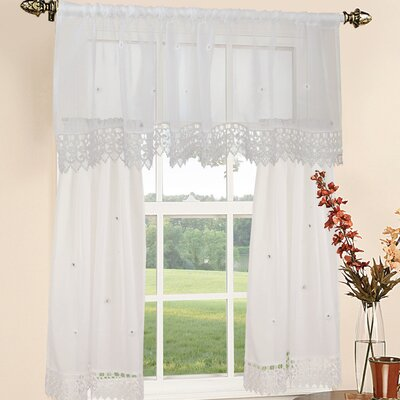 Roslyn Embroidered Valance and Tier Set Product Photo