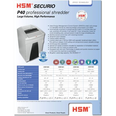 HSM of America,LLC HSM SECURIO P40c Cross-Cut Shredder, 35-37 Sheets,40 Gallon Capacity