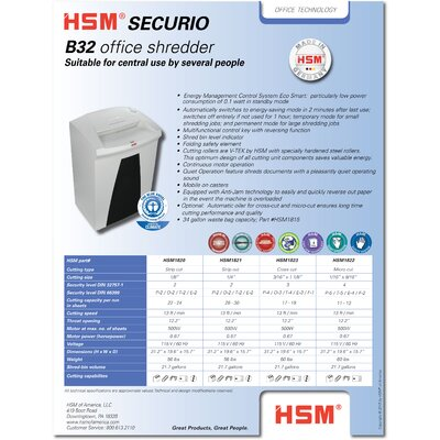 HSM of America,LLC HSM SECURIO B32c Cross-Cut Shredder, 17-19 Sheets, 21.7 Gallon Capacity