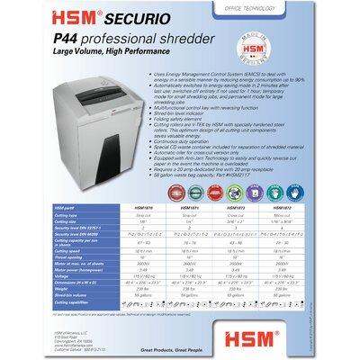 HSM of America,LLC HSM SECURIO P44c Cross-Cut Shredder, 43-46 Sheets, 55 Gallon Capacity