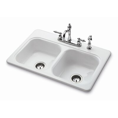 """33"""" x 22"""" Garnet II Self-Rimming Double Bowl Kitchen Sink with Four Holes Product Photo"""