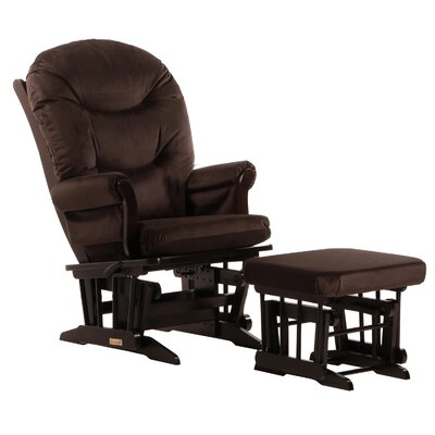 Dutailier Sleigh Multiposition Recline Glider, Plush Cushion & Nursing Ottoman in Espresso in Espresso