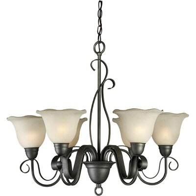 6 Light Chandelier with Umber Glass Shade by Forte Lighting