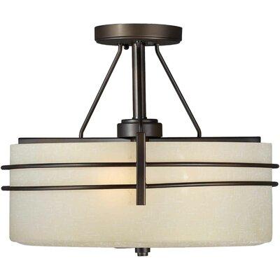 3 Light Semi Flush Mount - Umber Linen Shade Product Photo