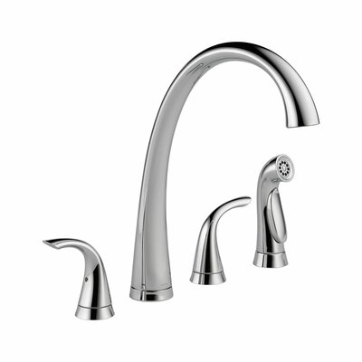 Pilar Double Handle Deck Mounted Kitchen Faucet with Spray Product Photo