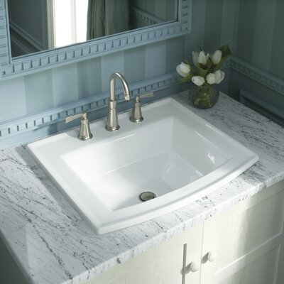 "Archer Drop In Bathroom Sink with 8"" Widespread Faucet Holes Product Photo"