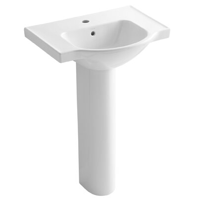 "Veer 24"" Pedestal Bathroom Sink with Single Faucet Hole Product Photo"